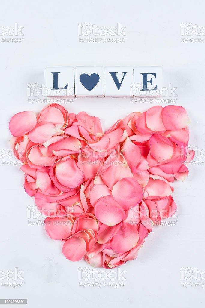 Beautiful Heart Of Pink Rose Petals And Letters Cubes Love Isolated On White Marble Background Valentines Day Concept Top View Copy Space Flat Lay Stock Photo Download Image Now Istock