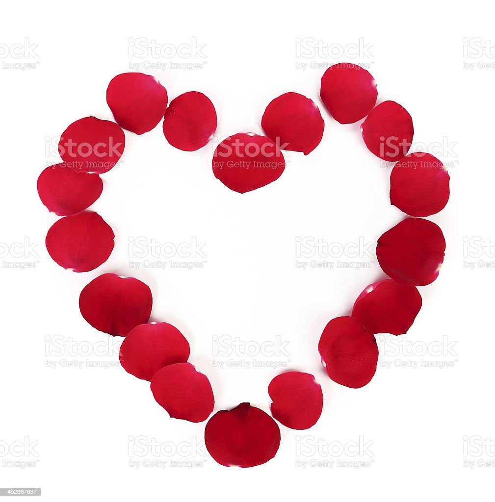 Beautiful heart of red rose petals royalty-free stock photo
