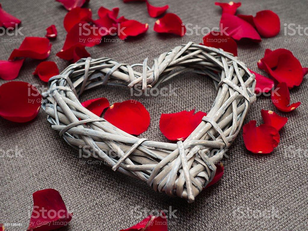 Beautiful Heart Shapes Of Wood Basketwork Stock Photo