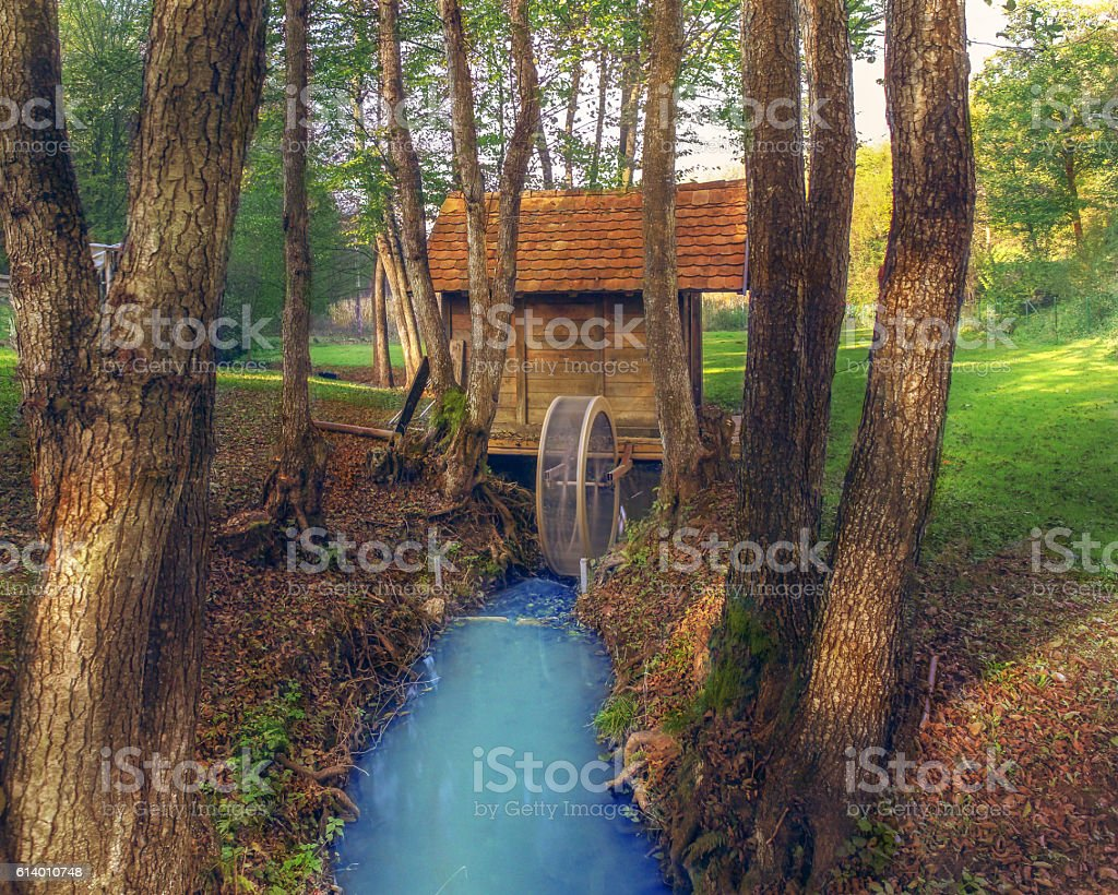 Beautiful Hidden Cottage In The Woods With Small Stream Royalty Free Stock Photo