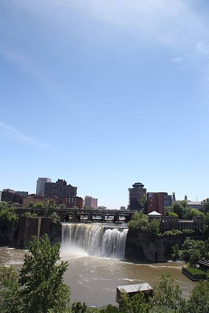 beautiful high falls genesee river - rochester ny skyline stock photos and pictures