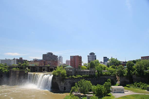 beautiful high falls - rochester ny skyline stock photos and pictures