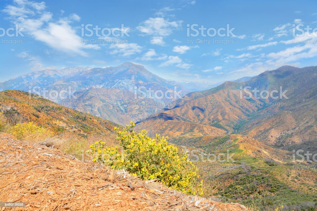 Beautiful high mountains view. stock photo