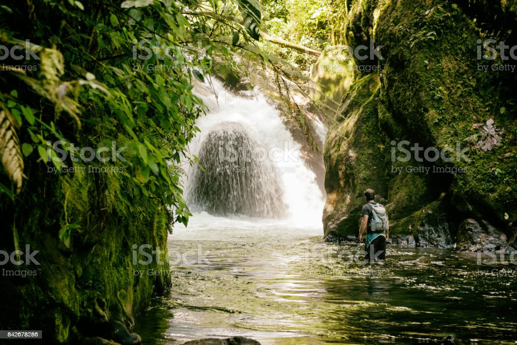 Beautiful hike in the jungle with waterfall