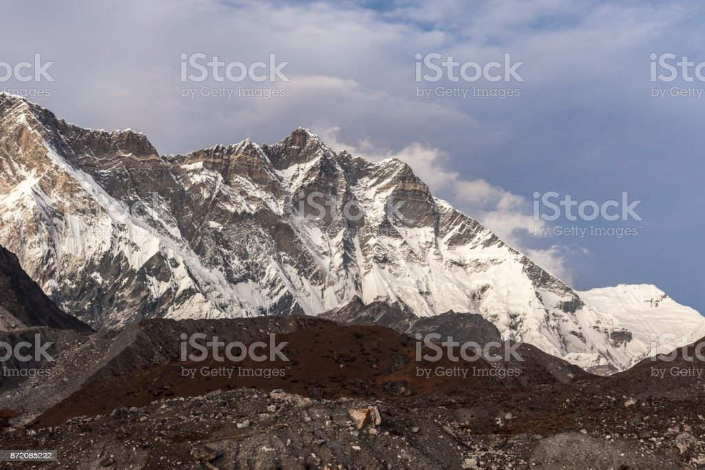 Beautiful Himalaya mountains on a cloudy day. Lhotse mountain south face view from Everest Base Camp Trek. Himalaya mountains landscape in Sagarmatha National Park in the Nepal. Himalaya mountains. stock photo