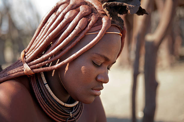 Beautiful Himba woman in Namibia stock photo