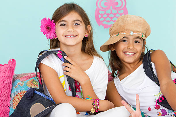 beautiful hippie friends - tween models stock photos and pictures