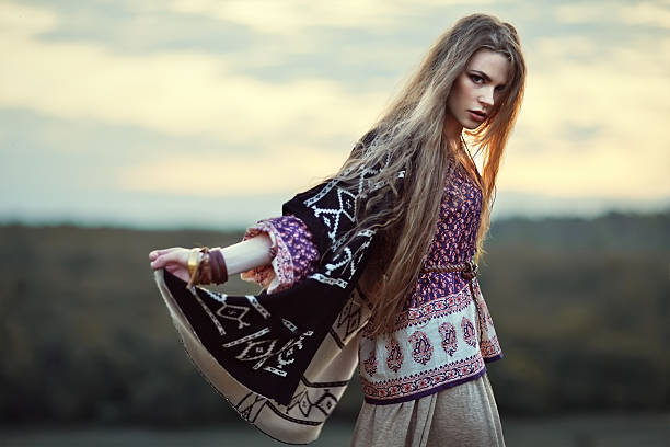 beautiful hippie girl - hippie fashion stock photos and pictures
