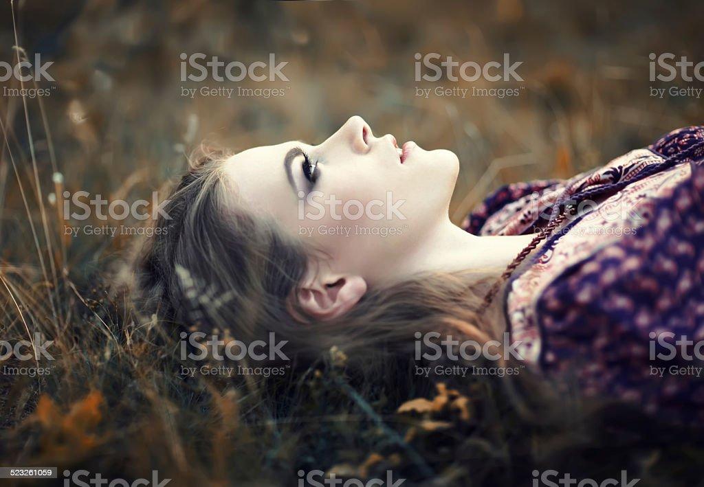 Hermosa Chica hippy - foto de stock