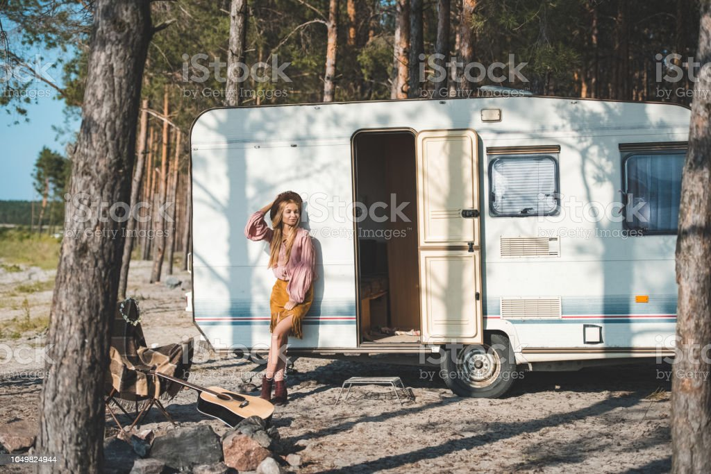 Beautiful Hippie Girl Posing Near Camper Van In Forest Stock Photo Download Image Now