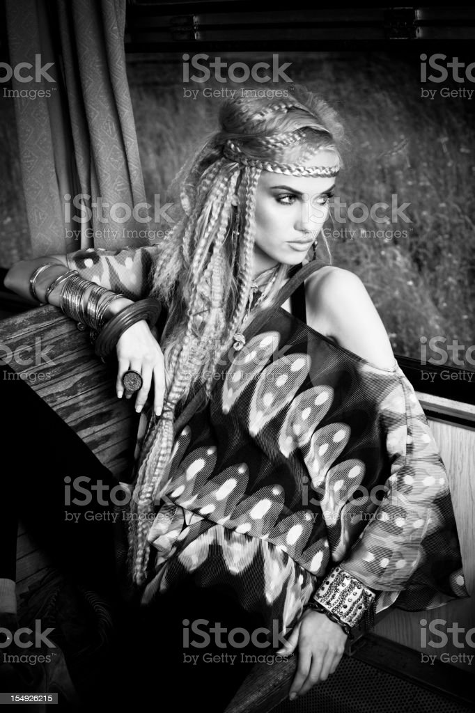 Beautiful hippie royalty-free stock photo