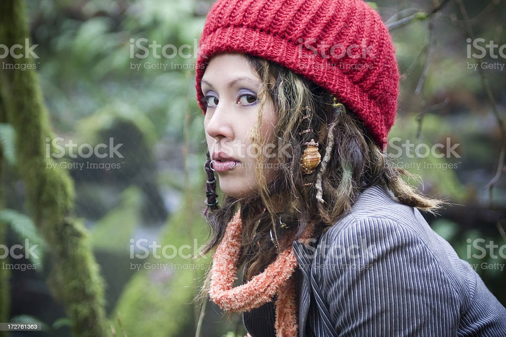 Beautiful Hippie Young Woman Portrait In Forest With Dreadlocks ... caf34ea1d9b5