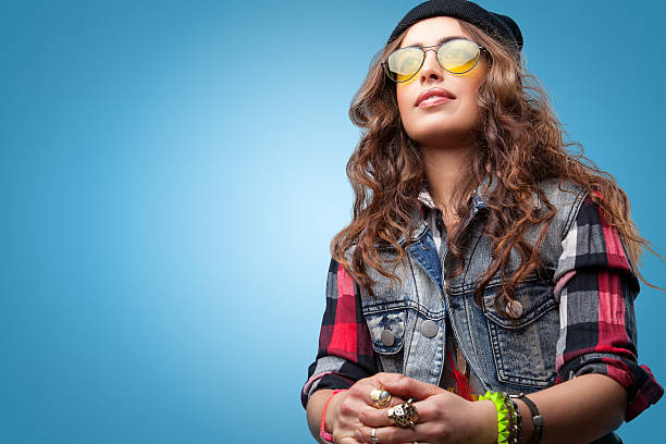 3a817e8a697 Beautiful Hipster Girl In Glasses Wearing Black Beanie Stock Photo   More  Pictures of Adult