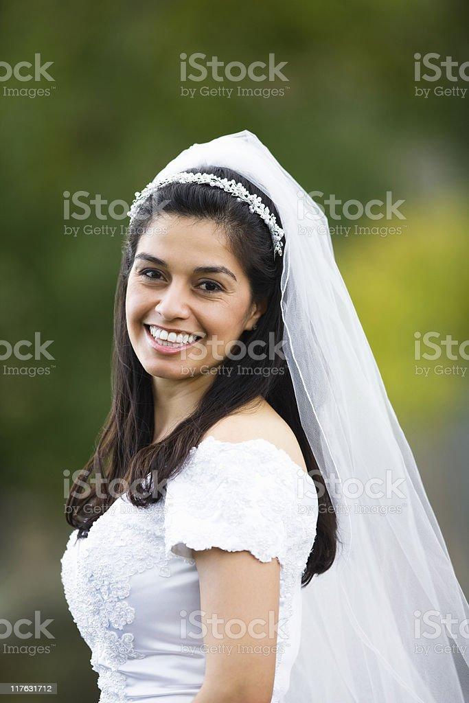 Beautiful Hispanic Happy Bride royalty-free stock photo