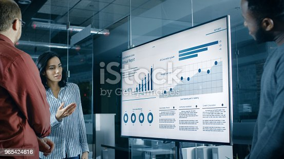 istock Beautiful Hispanic Woman Analyzes Statistics, Charts and Pies with Company's Growth Shown on a Wall TV. 965424616