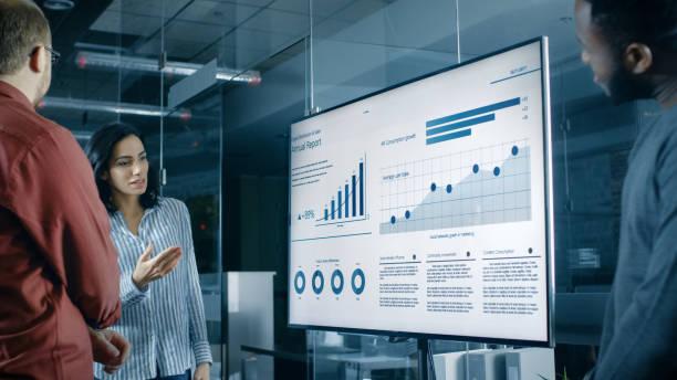 schöne spanische frau analysiert statistiken, diagramme und torten mit wachstum des unternehmens auf eine wand-tv gezeigt. - geschäftsstrategie stock-fotos und bilder