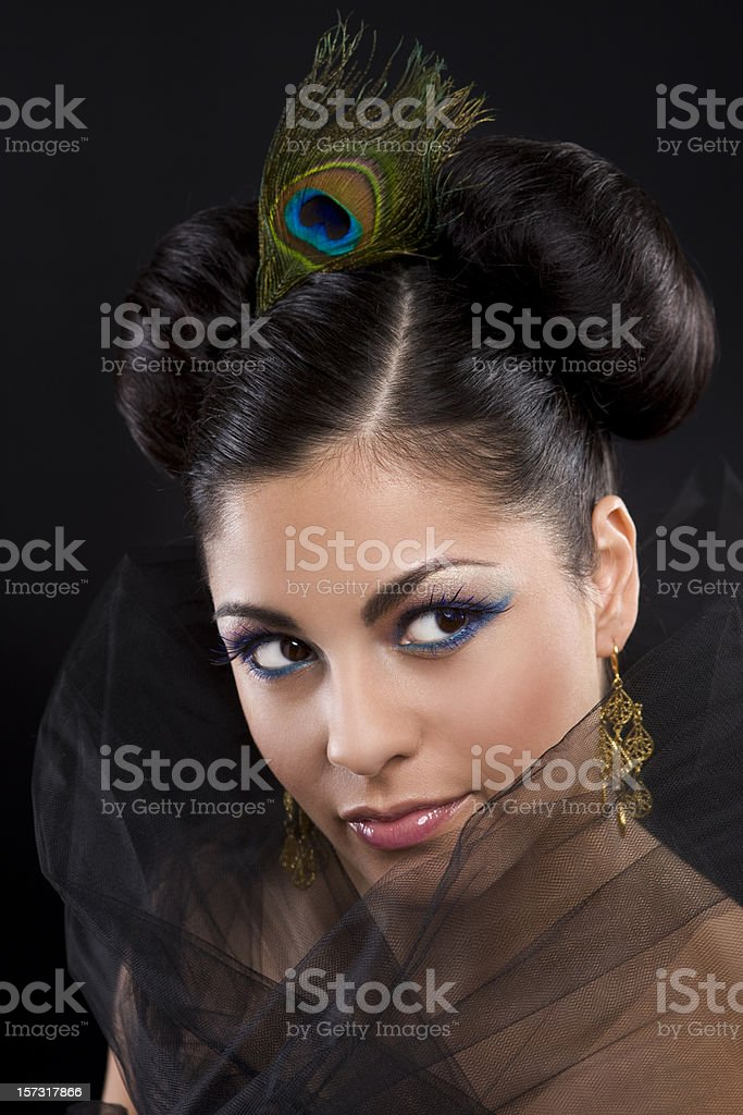 Beautiful Hispanic Young Woman Glamorous Portrait, Updo and Makeup stock photo