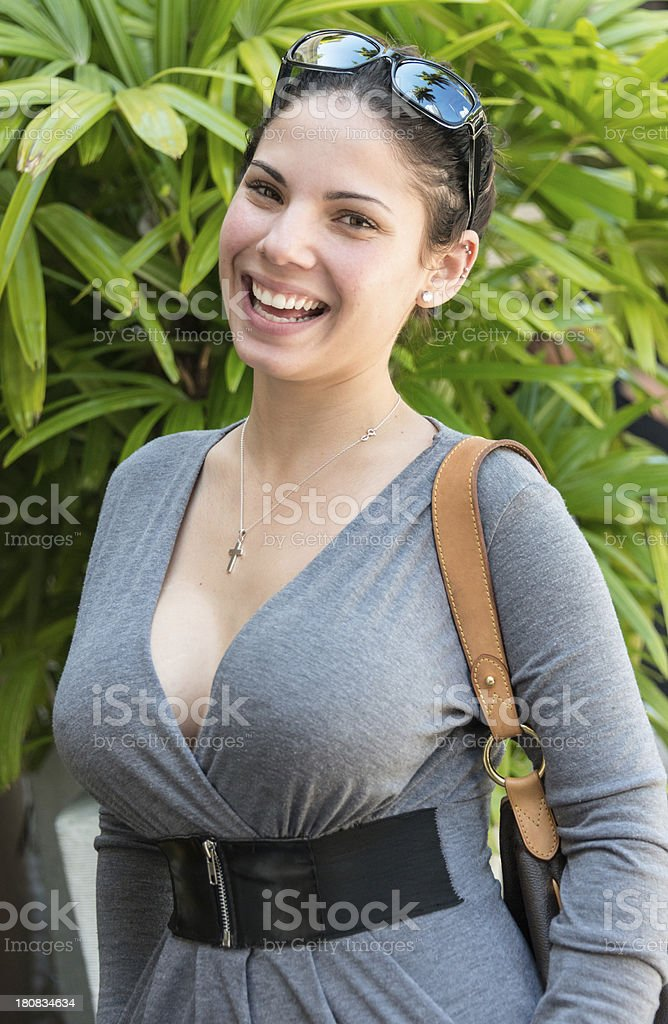 Beautiful hispanic young woman stock photo