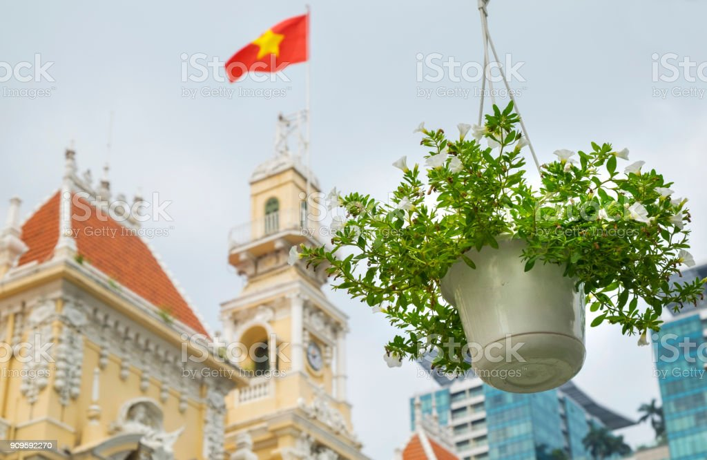 Beautiful Ho Chi Minh City Hall, Vietnam. Plant in hanging pot in in the foreground. stock photo
