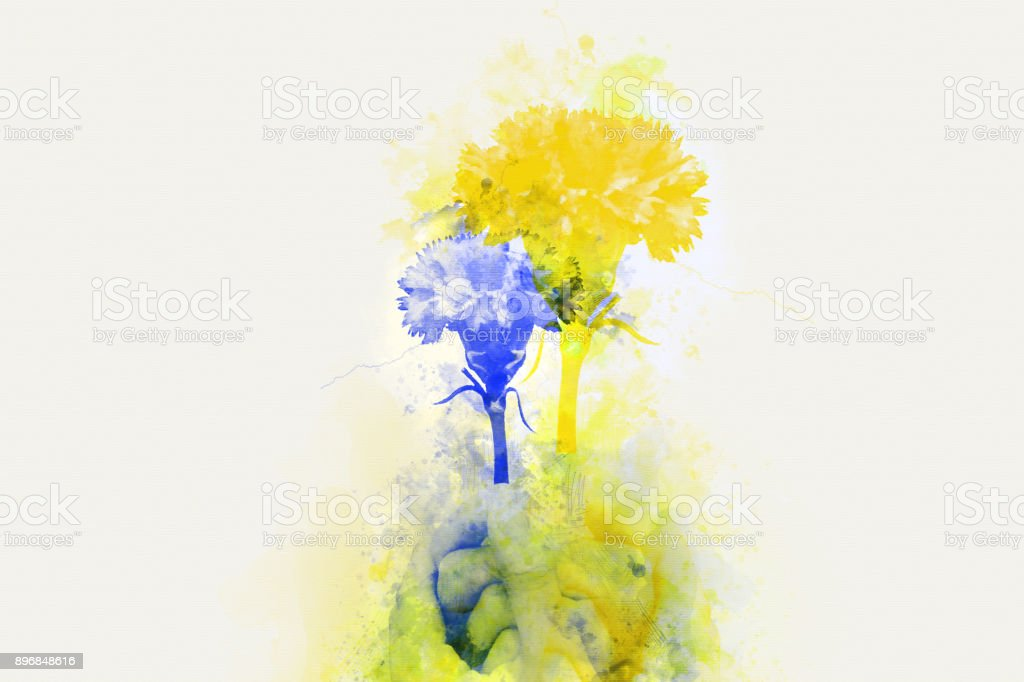 Beautiful holding colorful flower on watercolor painting background. stock photo
