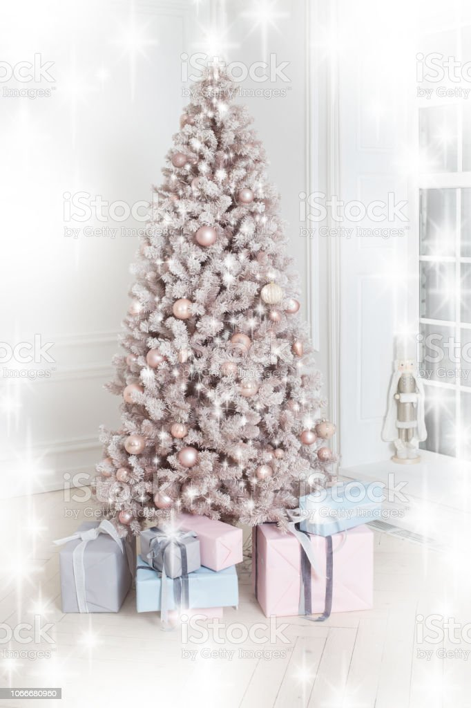 Beautiful Holiday Decorated Christmas Tree And Presents White And Silver Christmas Tree Decoration With Gold Garland New Year Card Stock Photo Download Image Now Istock