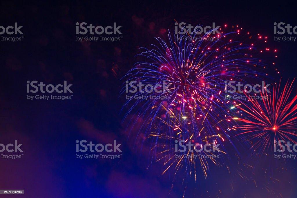 Beautiful holiday fireworks stock photo