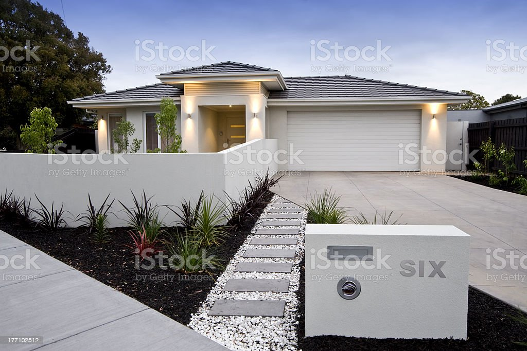 Beautiful home as seen from the driveway stock photo