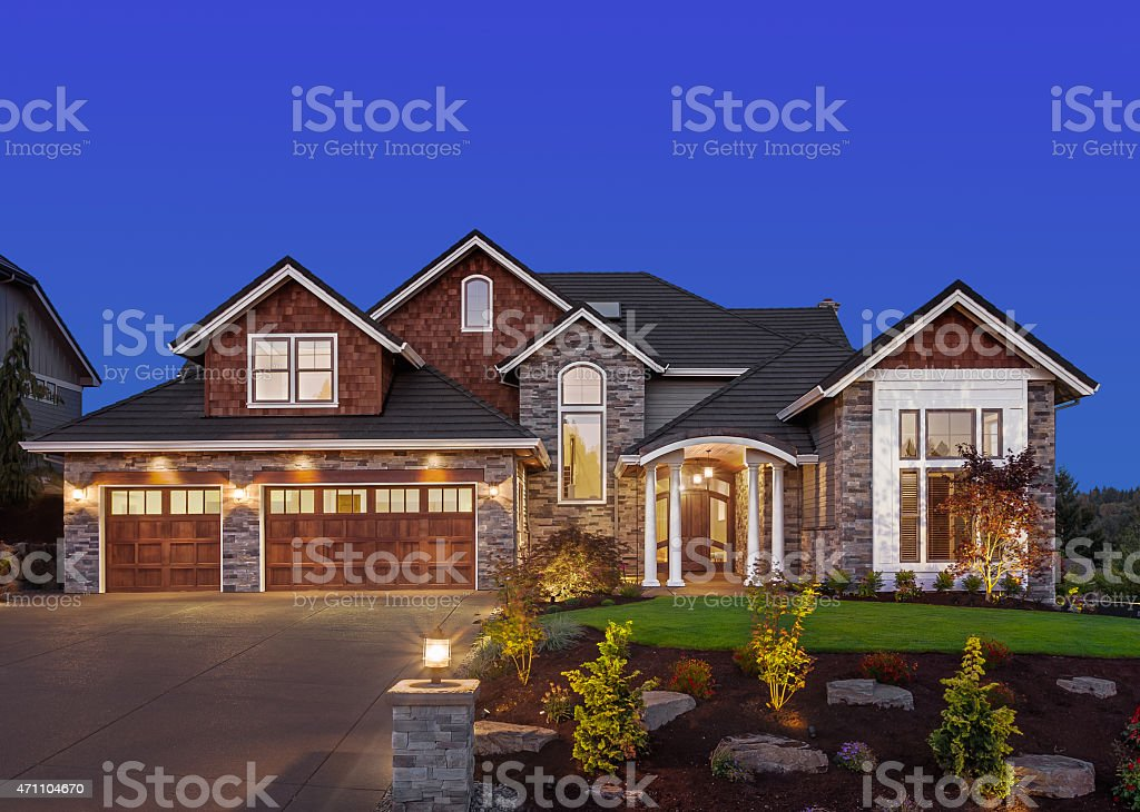 Beautiful Home Exterior at Night stock photo