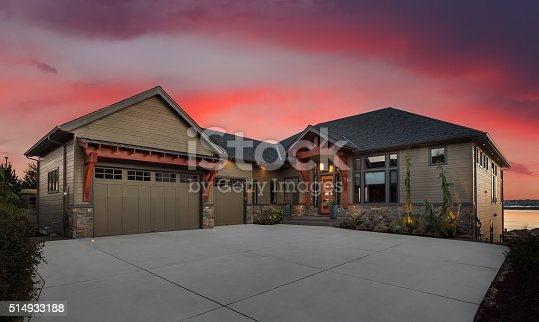 697393252 istock photo Beautiful Home Exterior at Night 514933188