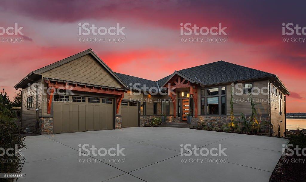 Beautiful Home Exterior At Night Stock Photo