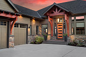 Beautiful Luxury Home Exterior at Sunset