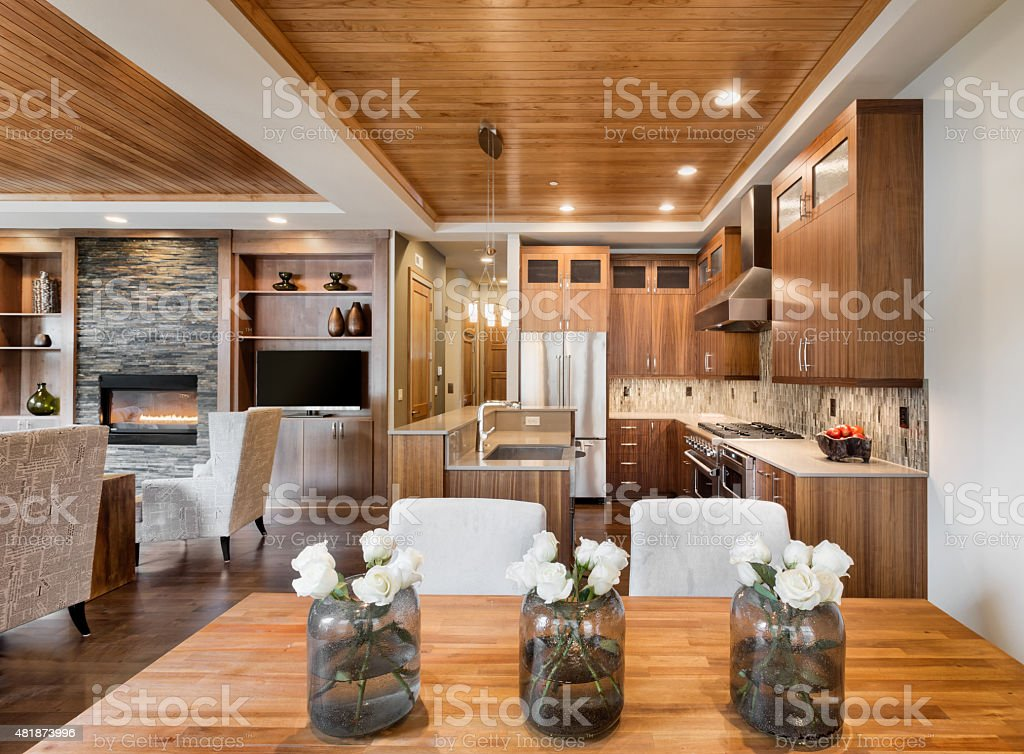 Beautiful home interior with open floor plan stock photo
