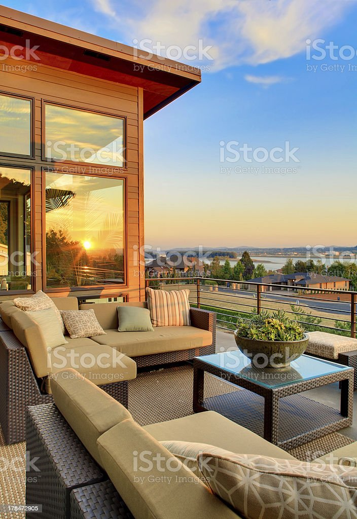 Beautiful Home Patio with View of Sunset stock photo