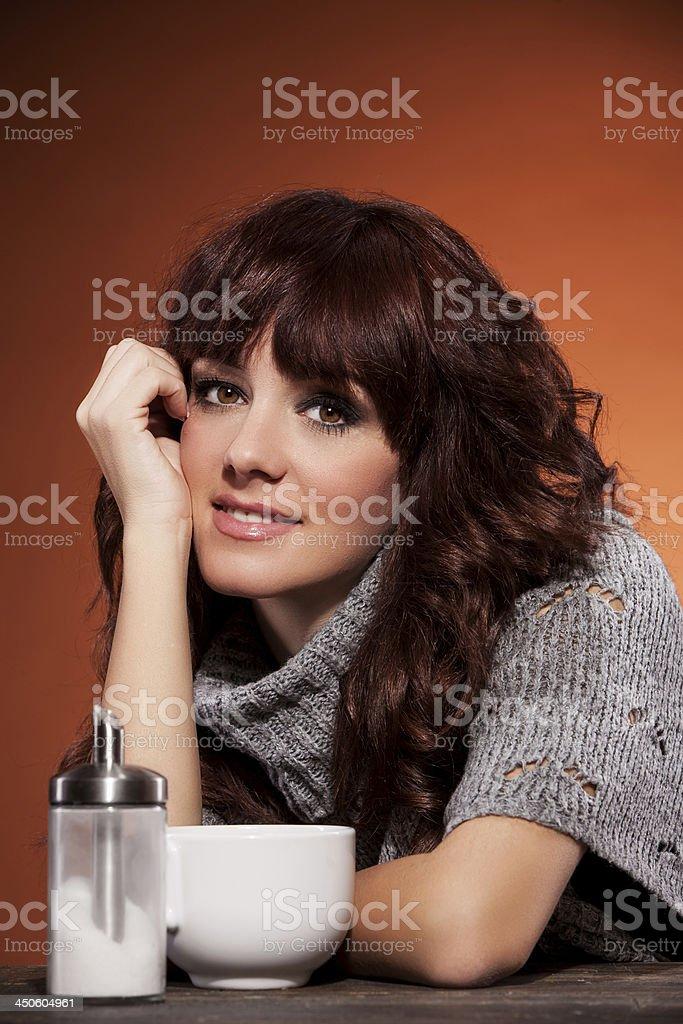 Beautiful Home portrait of brunette woman stock photo