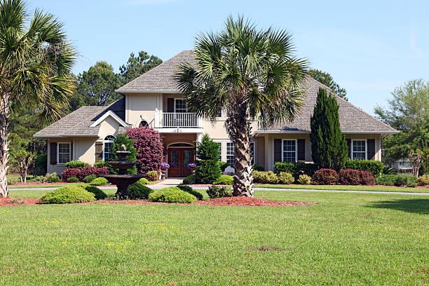 Beautiful home with a palmetto - South Carolina stock photo