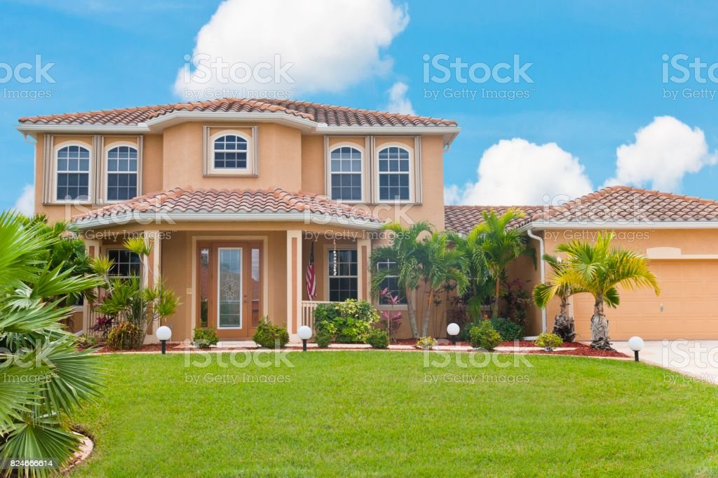 Beautiful home with tropical flair stock photo