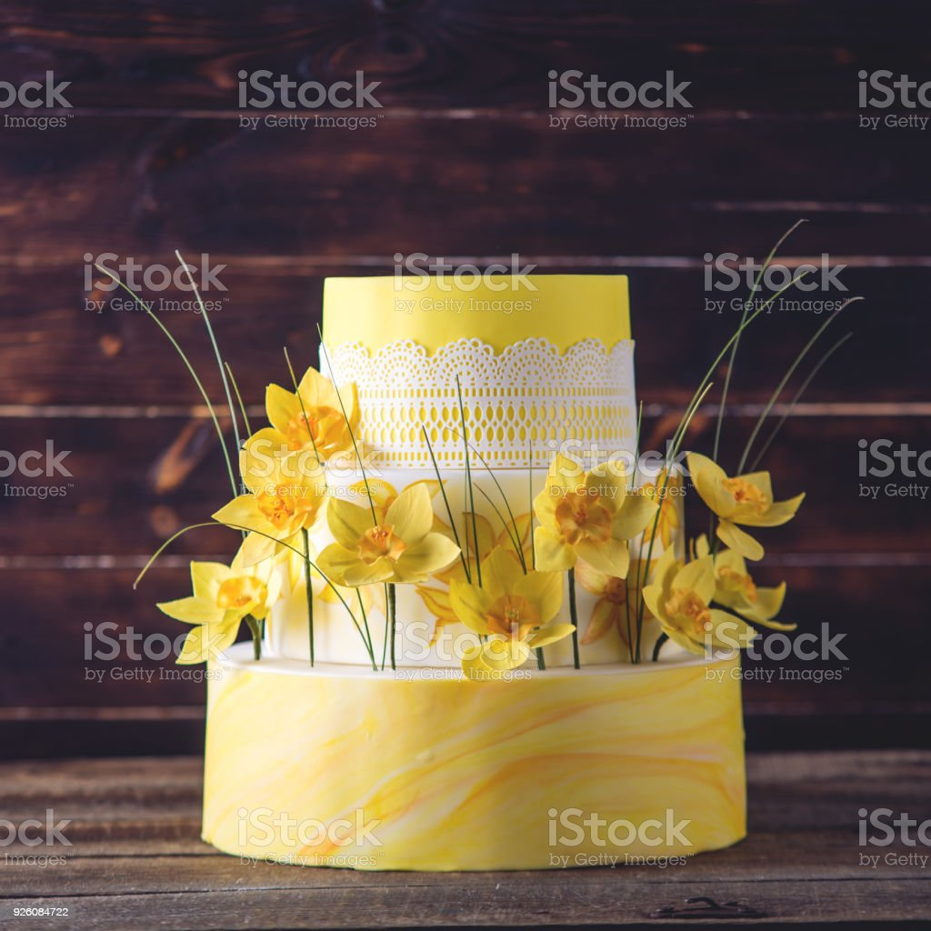 Beautiful Home Yellow Wedding Threetiered Cake Decorated With Red ...