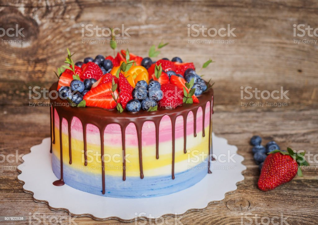 Beautiful Homemade Cake With Strawberries And Blueberries