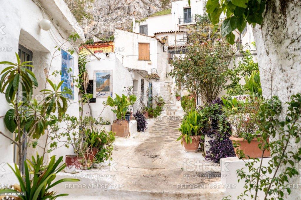 Beautiful homes in Anafiotika in Athens, Greece stock photo