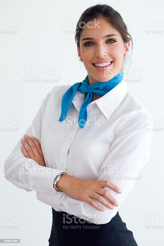 Beautiful hostess looking at camera. stock photo
