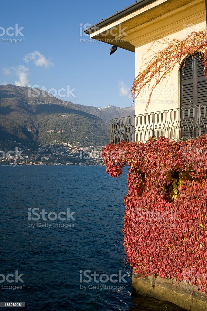 Beautiful House Against Lake Como Panorama royalty-free stock photo