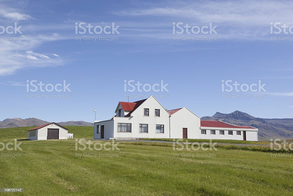 Beautiful house in green and blue, summer picture from iceland royalty-free stock photo