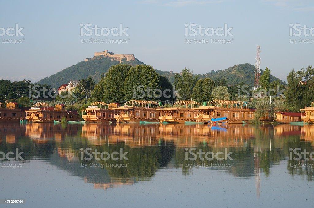 Beautiful houseboat at Dal Lake  in Srinagar, Kashmir, India stock photo