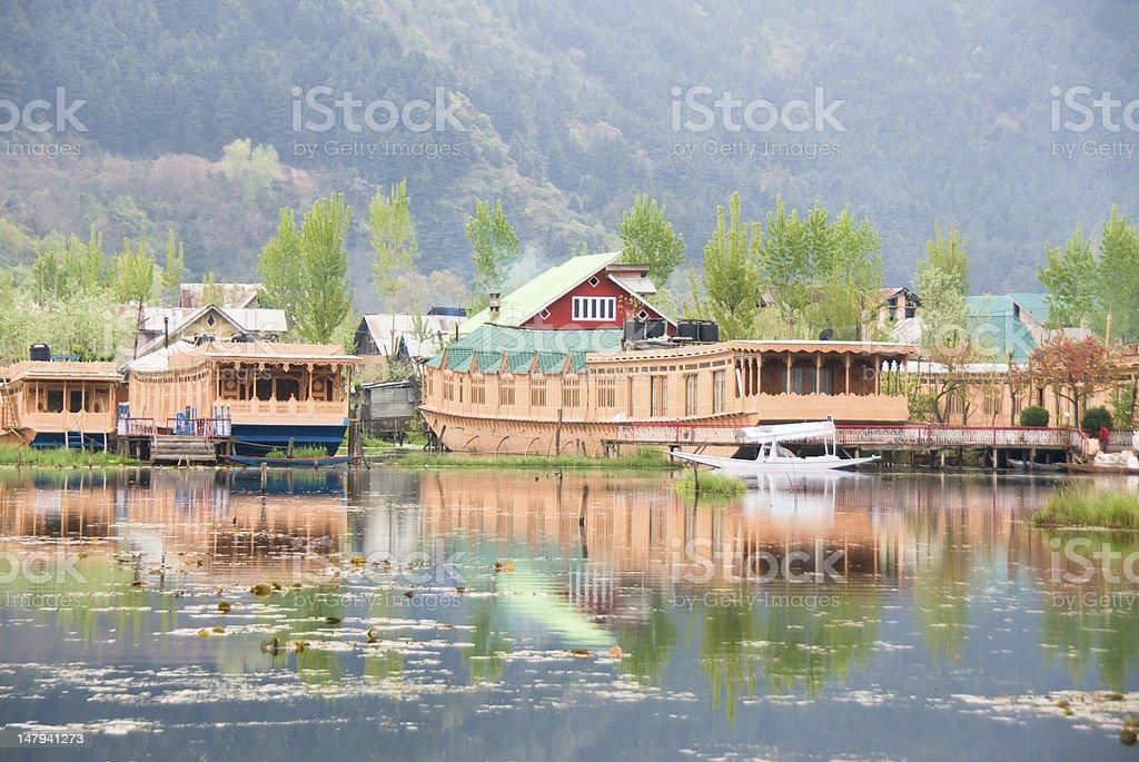 Beautiful Houseboat in Dal lake stock photo
