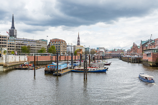 Beautiful houses and buildings on the banks of Elbe river in Hamburg, Germany.