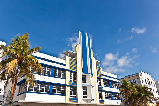 Miami, USA - July 31, 2010: midday view at Ocean drive  in Miami Beach, Florida. Art Deco architecture in South Beach is one of the main tourist attractions in Miami.