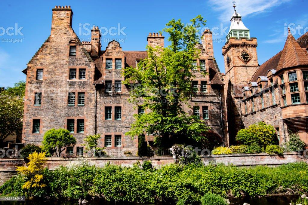 Beautiful houses in Dean village, Edinburgh, UK. - Royalty-free Ancient Stock Photo