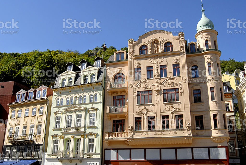 beautiful houses in Karlovy Vary stock photo