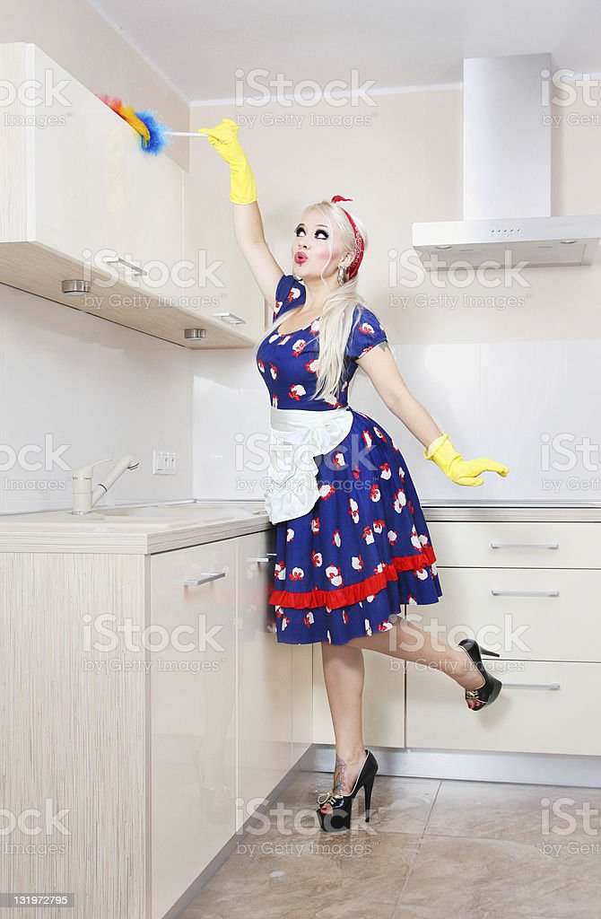 Beautiful housewife is cleaning the kitchen royalty-free stock photo