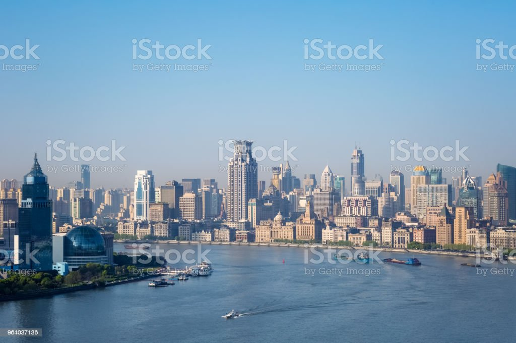 beautiful huangpu river in morning and the bund - Royalty-free Aerial View Stock Photo